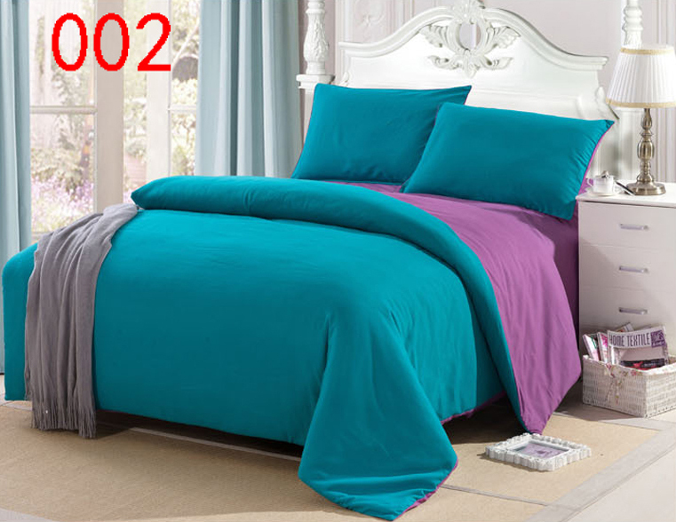 Blue Purple Twin Full Queen King Polyester 4pcs Bedding