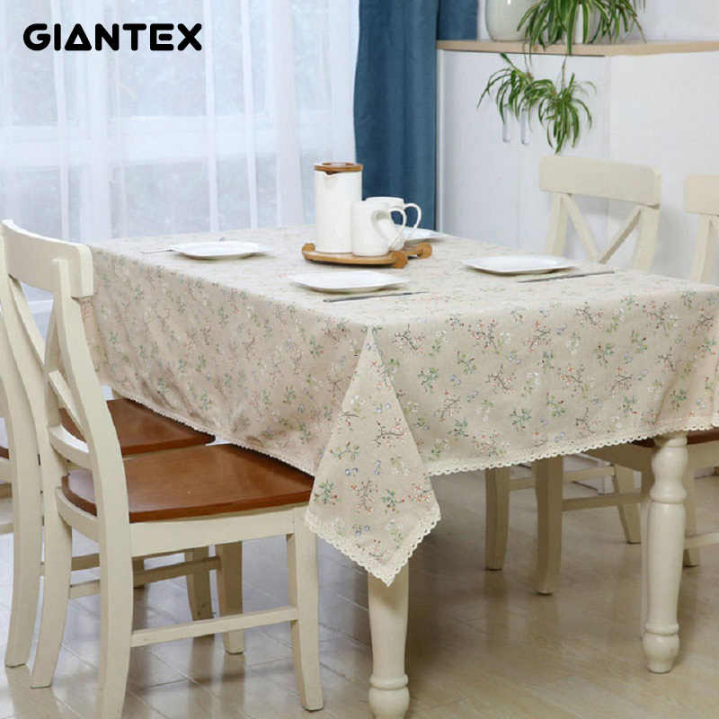 GIANTEX Flower Rectangular Table Cloth Cotton Linen Lace Tablecloth Dining Table Cover Kitchen Home Textile Home Decor U0993