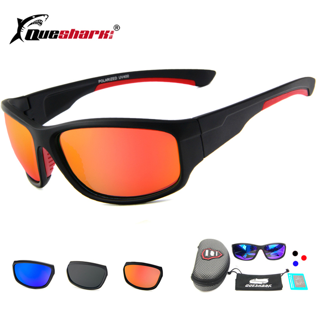 b6401adb2f0c Queshark Polarized Fishing Sunglasses Sport Glasses Outdoor Safety Camping  Hiking Bicycle Cycling Sunglasses Fishing Eyewear