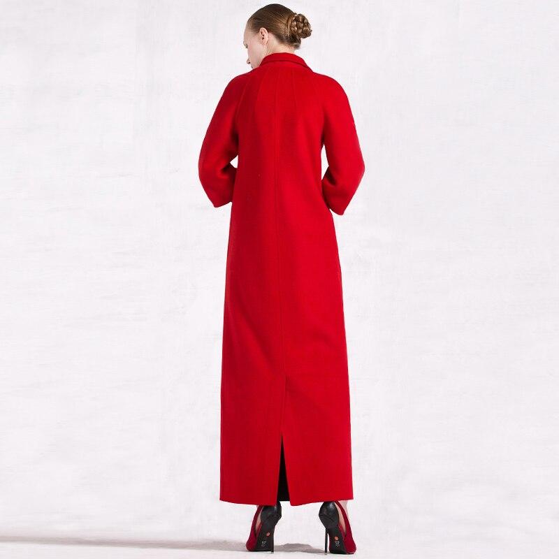 Ol Df Femmes Laine Manteau D'hiver Lady Unique Long Casual Poitrine Style Qualité Chaud 6238 Pardessus Col Rouge Rabattu Haute zrIS8qwExr