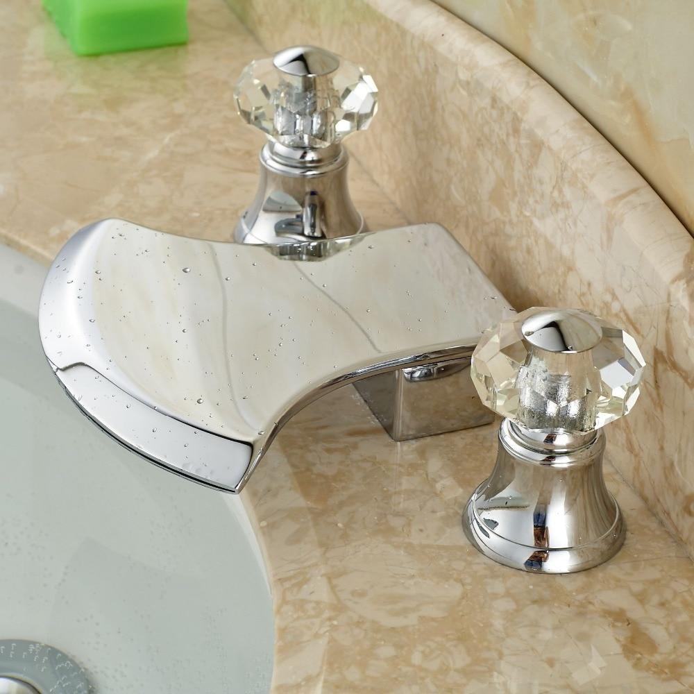 Contemporary 3 Holes Chrome Basin Vessel Sink Faucet Dual Handles Bathroom Mixer Tap Deck