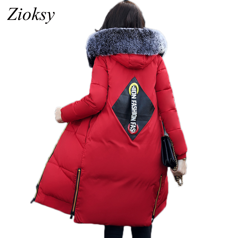 Zoksy 2017 Winter Coat Women Hooded Fur Collar Thick Warm Long Cotton Parkas Jacket Female Outerwear Ladies Chaqueta Feminino women winter jacket 2017 new fashion ladies long cotton coat thick warm parkas female outerwear hooded fur collar plus size 5xl
