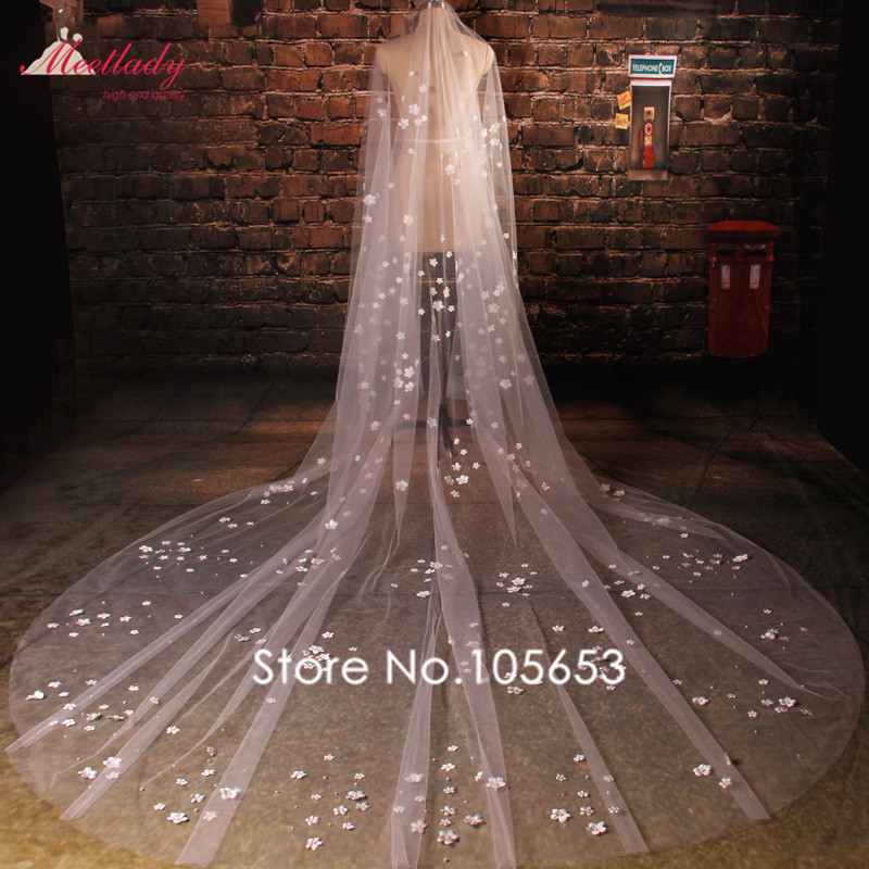 Cheap Real Samples Cathedral Train 3m Flowers Petals Wedding Veil One Layer Pearls Bridal Veil Wedding Accessories RC12