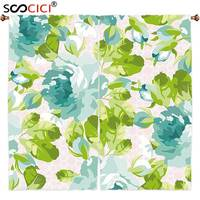 Window Curtains Treatments 2 Panels Shabby Chic Decor Tropical Botany Garden Theme Blue Roses Leaves Bouquets