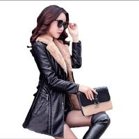 Women S Clothing New Autumn And Winter Cashmere PU Leather Jacket Long Section Large Size Women