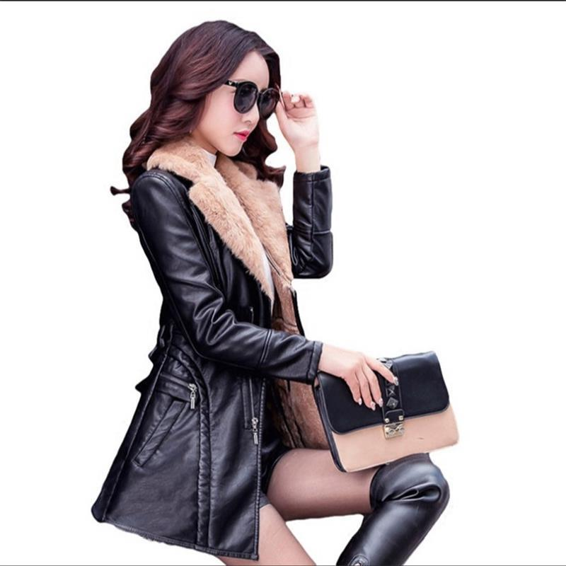 Women's clothing new autumn and winter cashmere PU leather jacket long section large size women's thick fur collar leather coat