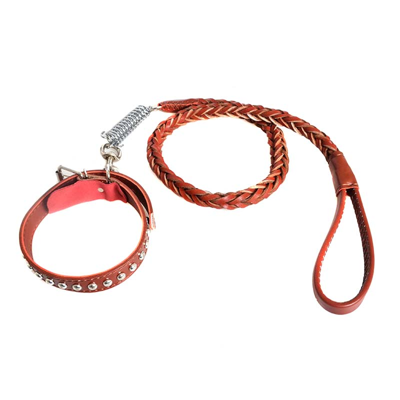 Wide Braided Pet Collar Traction Rope PU Leather Adjustable Dog Training Walking Leash Strap Harness Lead Best Price