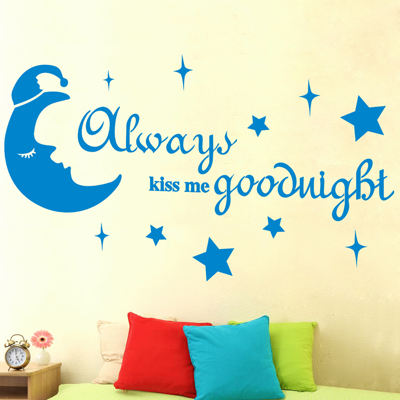 [SHIJUEHEZI] Always Kiss Me Good Night Moon Stars Wall Sticker Quotes Wall Decals for Kids Rooms Vinyl Mural Art Home Decoration