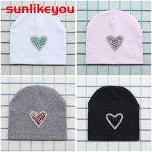Sunlikeyou Newborn Infant Winter Caps For Boy Girls Kids Skullies Rhinestone Cotton Soft Elastic Unisex Beanie Bonnet Baby Hat