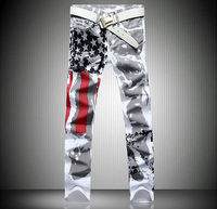 Stylish Men S Fashion Slim Fit Jeans Pants Trousers USA American Flag Jeans