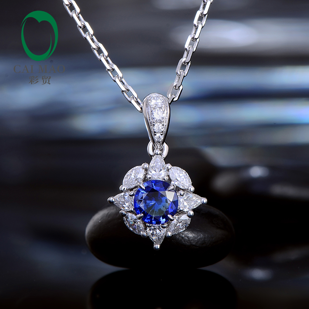 Caimao 0.36ct Natural Blue Sapphire Marquise Pear Diamonds 14kt White Gold Exquisite Pendant for Women цена