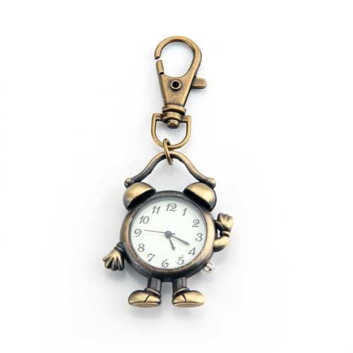 YCYS! Retro Bronze Metal Clock Robot Keyring Chain With Clock 1.8
