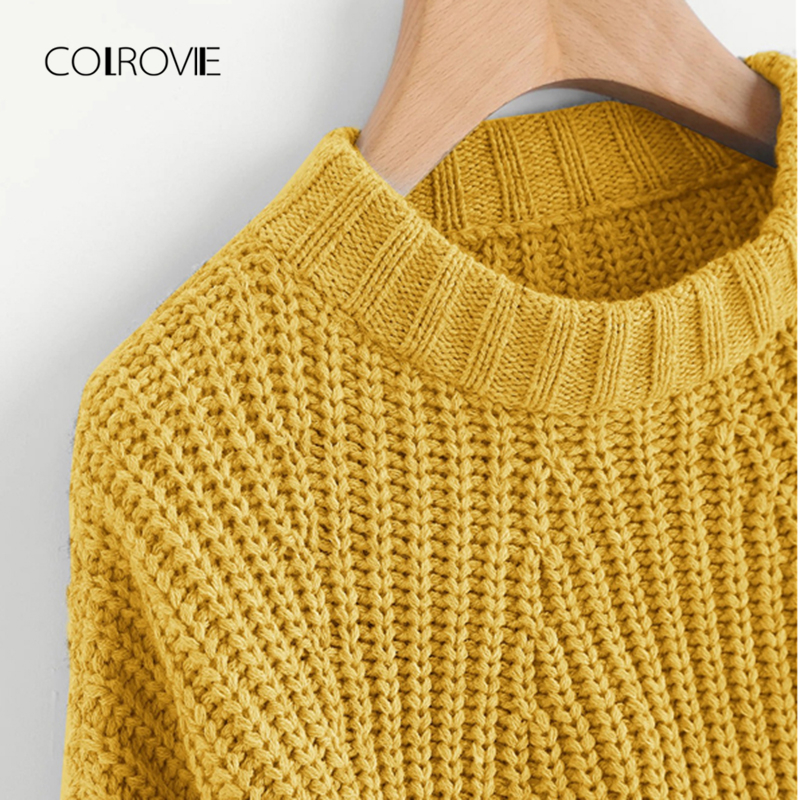 35f57c576 COLROVIE Yellow Chunky Vented Coffee Korean Winter Knitted Crop Sweater  Women 2018 Autumn Grey Office Pullover Fashion Jumper-in Pullovers from  Women s ...