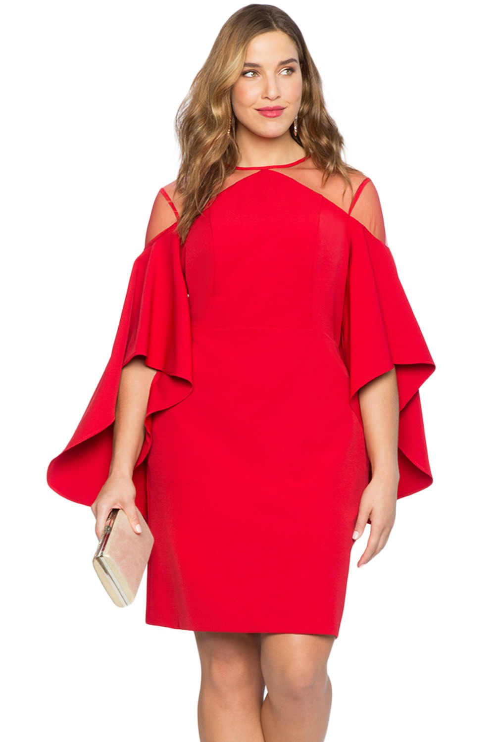 Red-Mesh-Illusion-Cold-Shoulder-Plus-Size-Dress-LC220395-3-2
