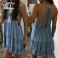 THYY Spaghetti Strap Lace Dress Women Mini Beach Casual Loose Beach Dress 2017 O-Neck Summer Sundress Solid Lace Backless Dress