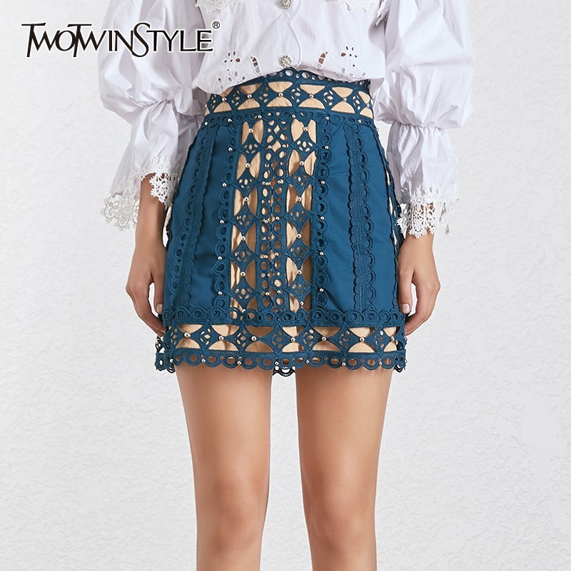 TWOTWINSTYLE Korean Hollow Out Women Skirt High Waist Beading Patchwork Slim Mini Skirts Female Fashion 2019 Summer New Tide