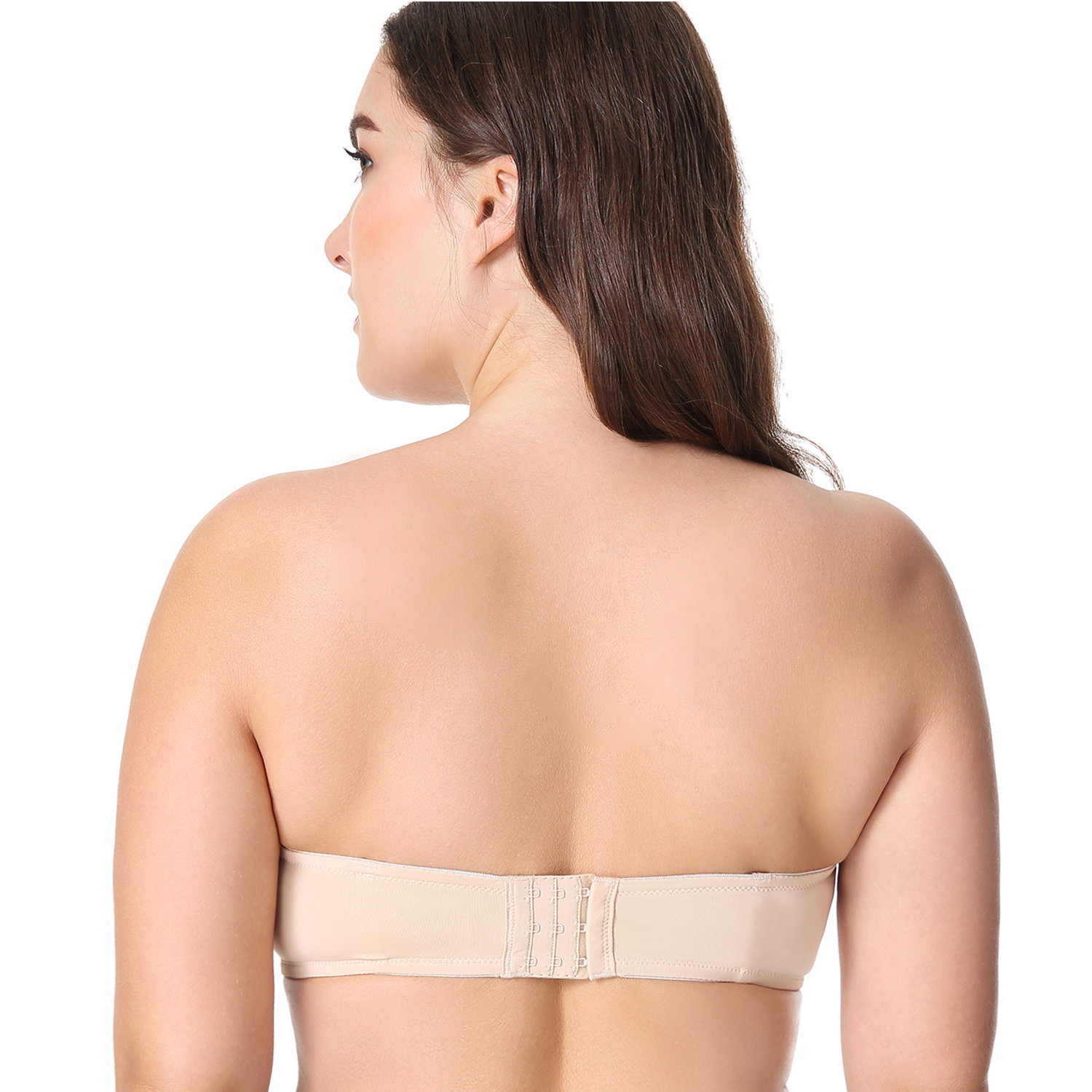 Women Low Cut Strapless Smooth Demi Shell Shape Removable Pad Multiway Bra