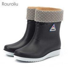 Rouroliu Women Mid-Calf Winter Warm Rain Boots Non-Slip Thick Heels Waterproof Water Shoes Woman Wellies  RT333