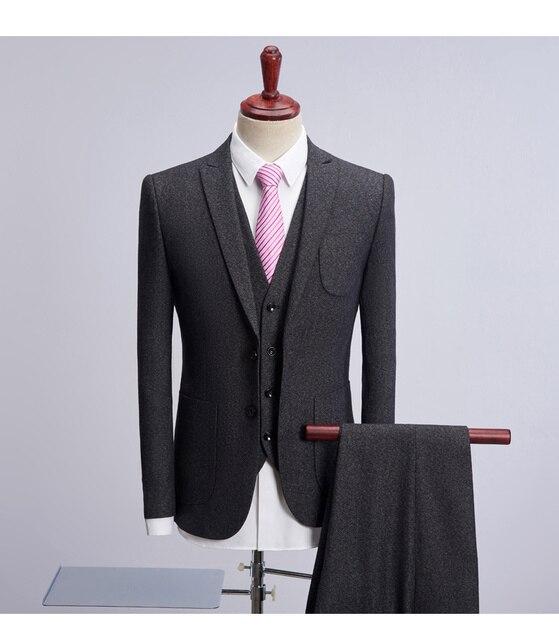 2018 nueva Tweed herringbone hombres boda traje Trajes hombre slim fit  smoking formal del novio 3 94703d9c438