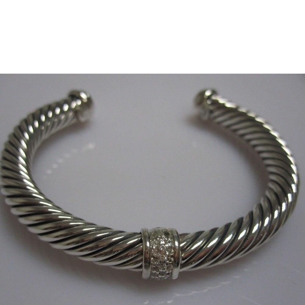 Bijoux en argent Sterling 7mm pavé de diamants Bracelet de câble Bracelet fin de mode femmes Bracelet cadeaux de saint valentin - 5