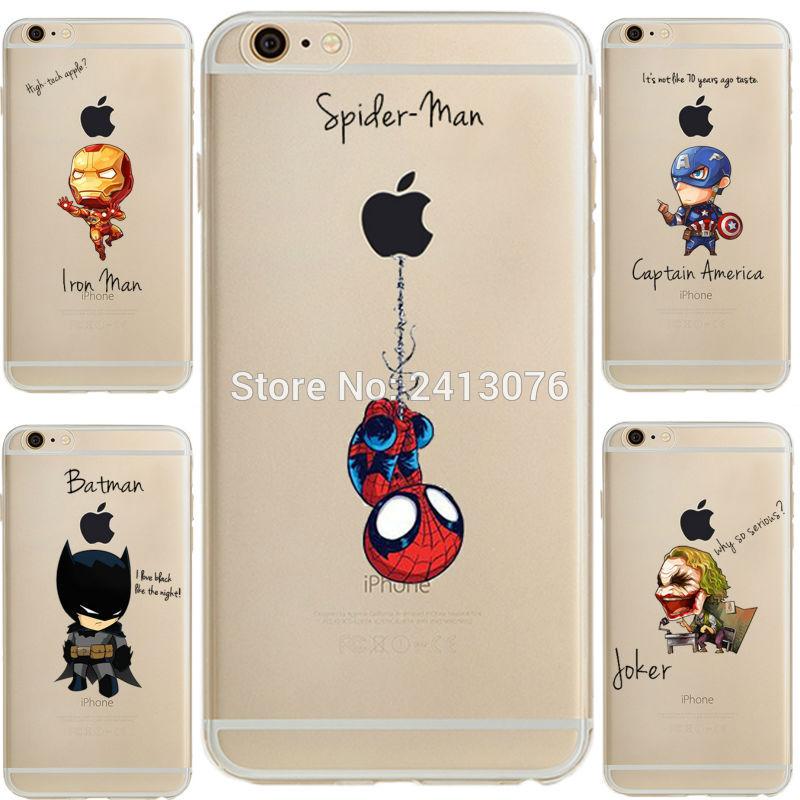 Ciciber DC Comics Marvel Homem De Ferro Homem-Aranha joker suave silicone Caso capa para o iphone 11 Pro Max 7 6 S 8 plus 5S SE X XR XS MAX