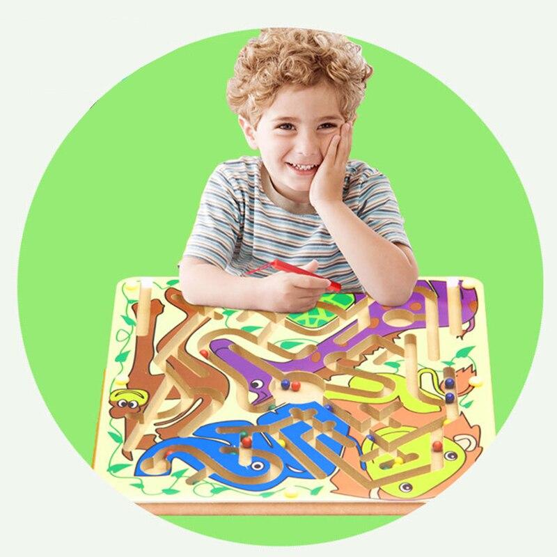 Nouveau jouet de labyrinthe magnétique enfants en bois jeu de Puzzle jouet enfants début éducatif casse-tête en bois jouet intellectuel Puzzle