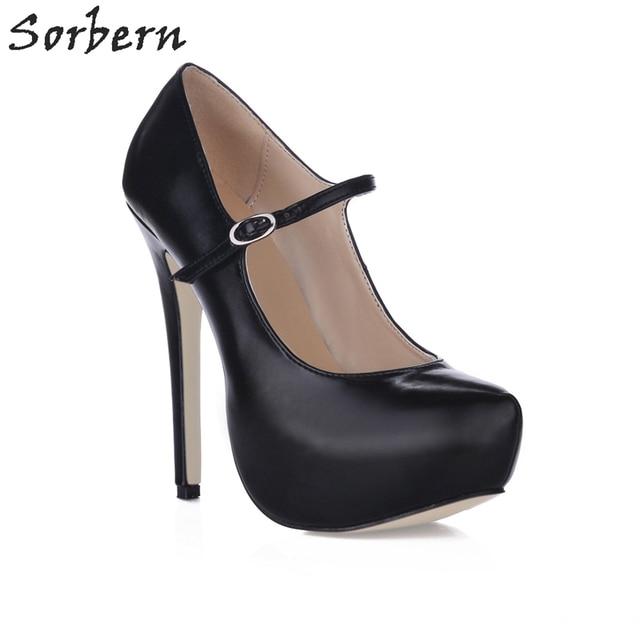 f615aaf602a Sorbern Fashion Mary Janes Platform Shoes High Heels Pumps Women Black  Office Shoes Custom Color New 2018 Ladies Heels