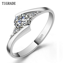 цена TIGEADE Jewelry Real 100% 925 Silver Ring 0.5 Carat 5A Zircon cz Engagement Wedding Rings For Women RING SIZE 4 5 6 7 8 9 10 в интернет-магазинах