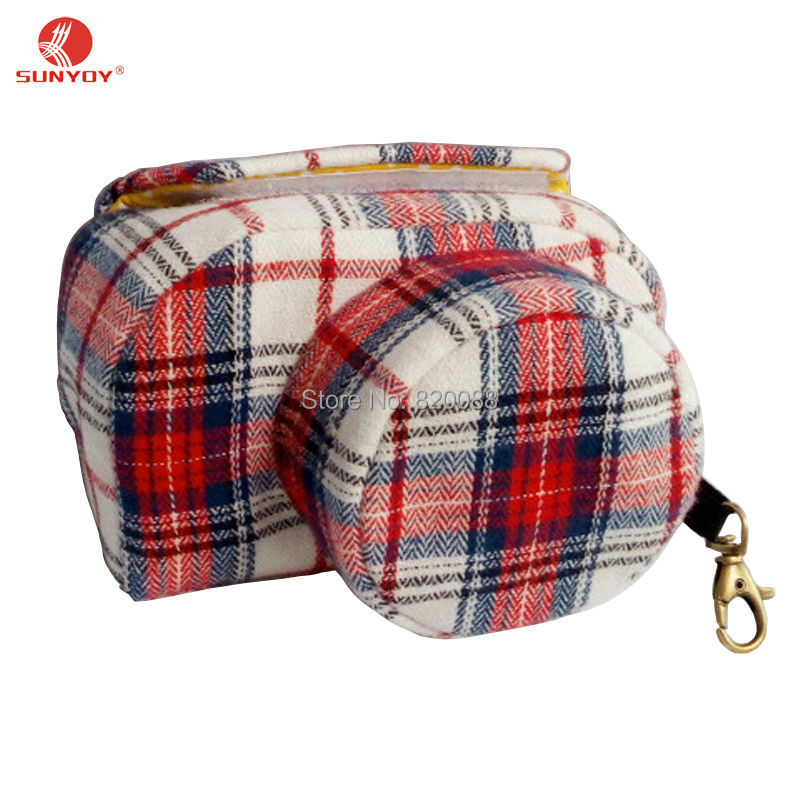Fashion Plaid Style Pattern Thicken Velvet Fabric Camera Case Bag For Sony A5000 A5100 A6000 A6300 with 16-50mm lens