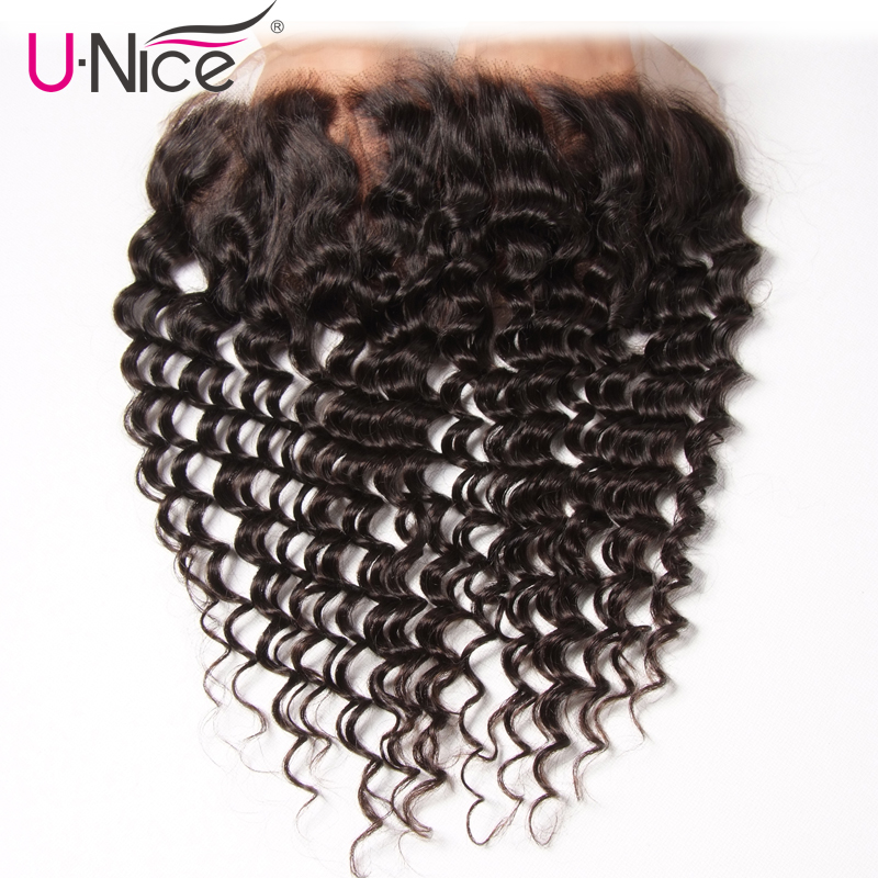 Unice Hair Malaysian Deep Wave Lace Frontal 13 4 Natural Color Ear To Ear 1 PCS