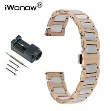 16mm Ceramic & Stainless Steel Watchband for Moto 360 2 42mm Women Huawei Talkband B3 Foss