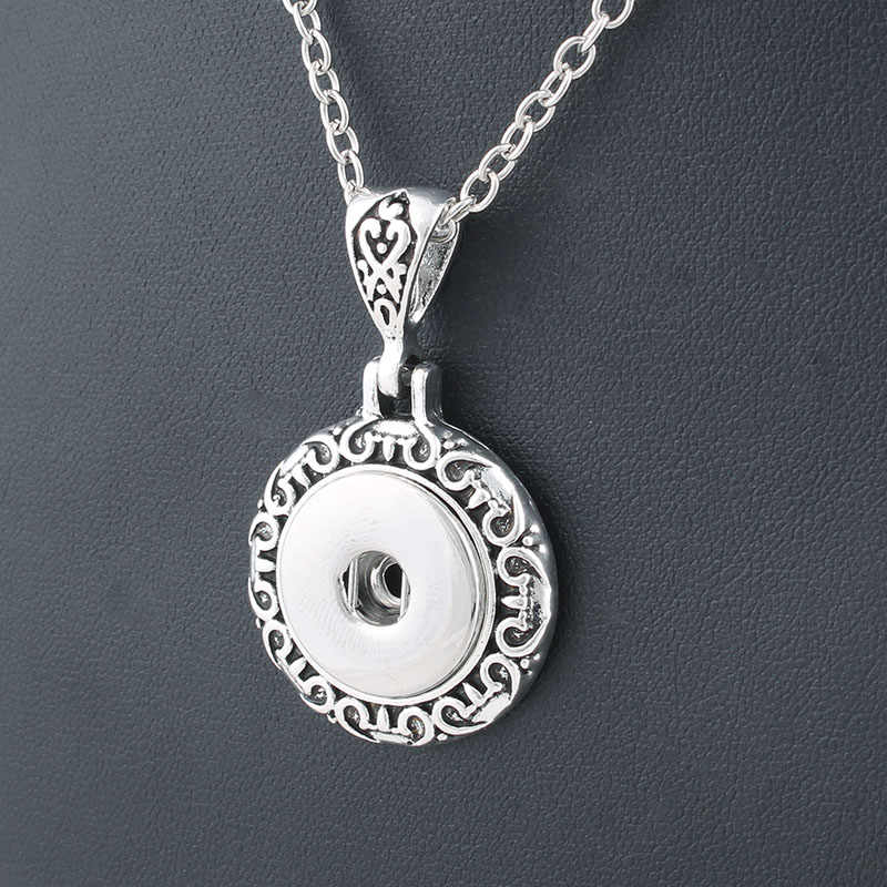 Vintage round 18mm metal xinnver snap necklace & pendant Sterling jewelry with Bead chain statement woman  DIY jewelry ZG037