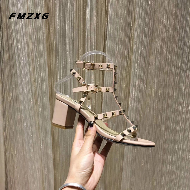 Women Fashion Rivet High Heels Sandals Genuine Leather Square High Quality Buckle Shoes Party Sexy Summer Patent Leather Shoes high quality rivet mirrored square oversized sunglasses
