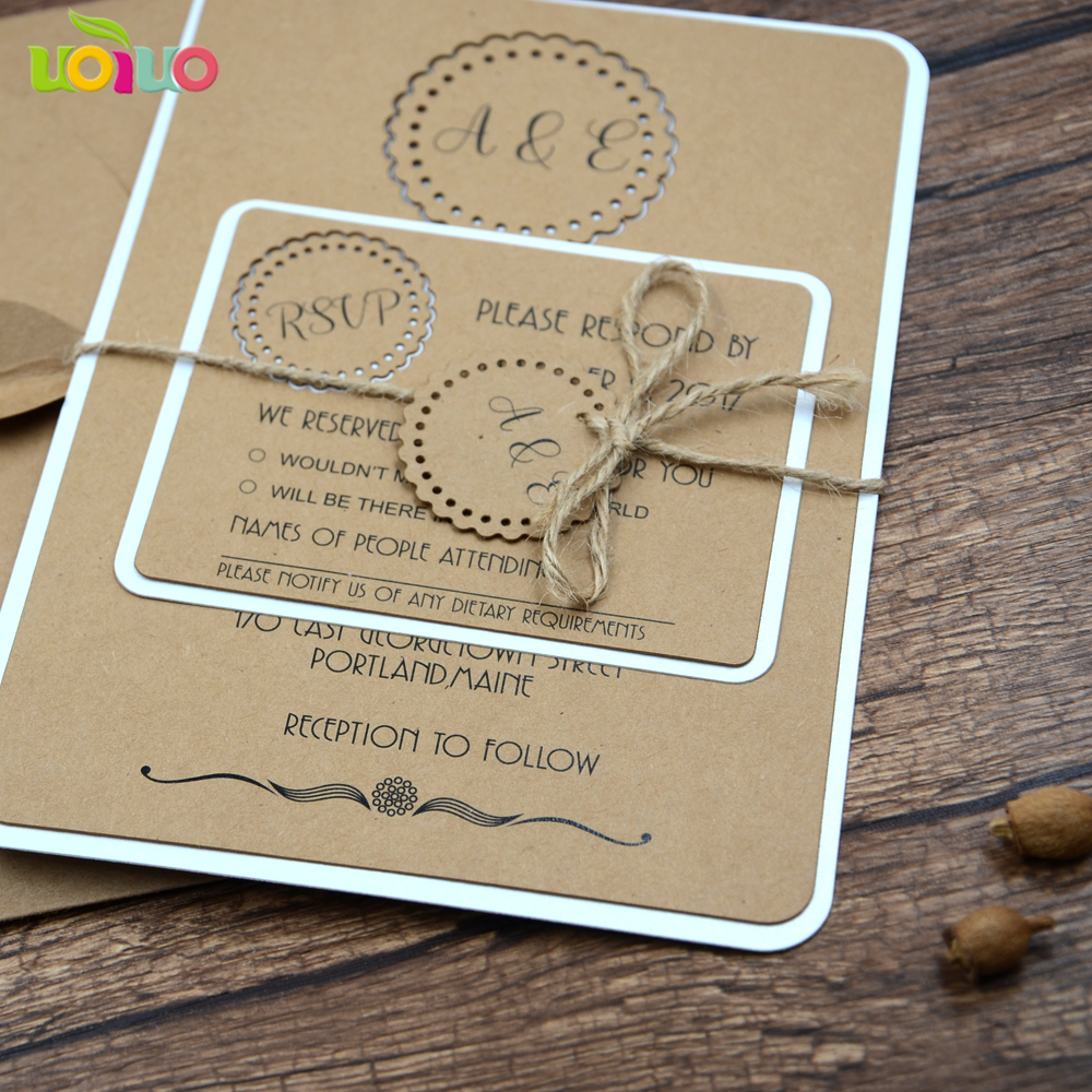 Us 16 0 Best Sale Laser Cut Various Colors And Sizes Kraft Paper Wedding Invitation Cards With Custom Printing In Cards Invitations From Home