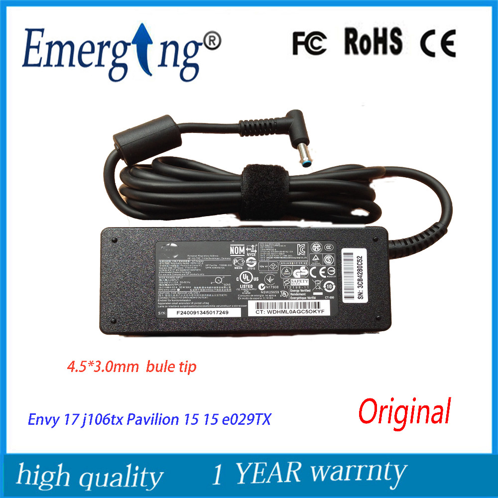 Original 19.5V 4.62A 90W AC Laptop Adapter Charger For HP Envy 17 j106tx Pavilion 15 15 e029TX for ins 1427 1425 laptop charger 90w cn 0p189k p189k original 2 years warranty