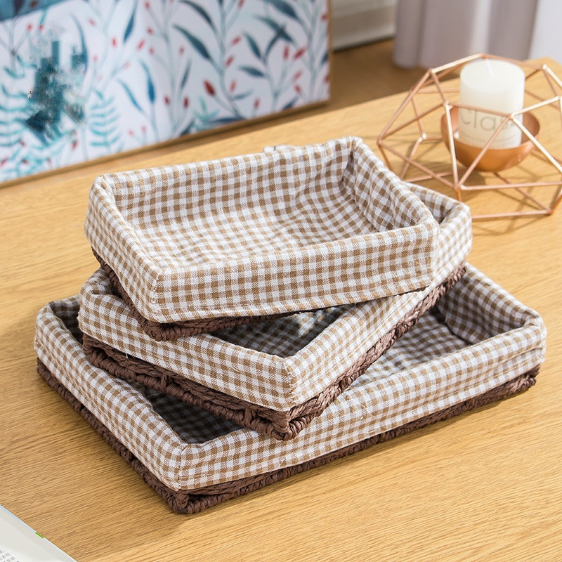 Straw storage boxes paper rattan baskets organizer for storage of toy on side table with cotton lining pastoral style 5cm height in Storage Baskets from Home Garden