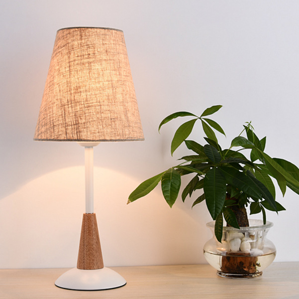 Фотография Modern Nordic Minimalist Solid Wood Fabric Led E27 Table Lamp For Bedroom Bedside Living Room Reading Lamp H 46cm 1037