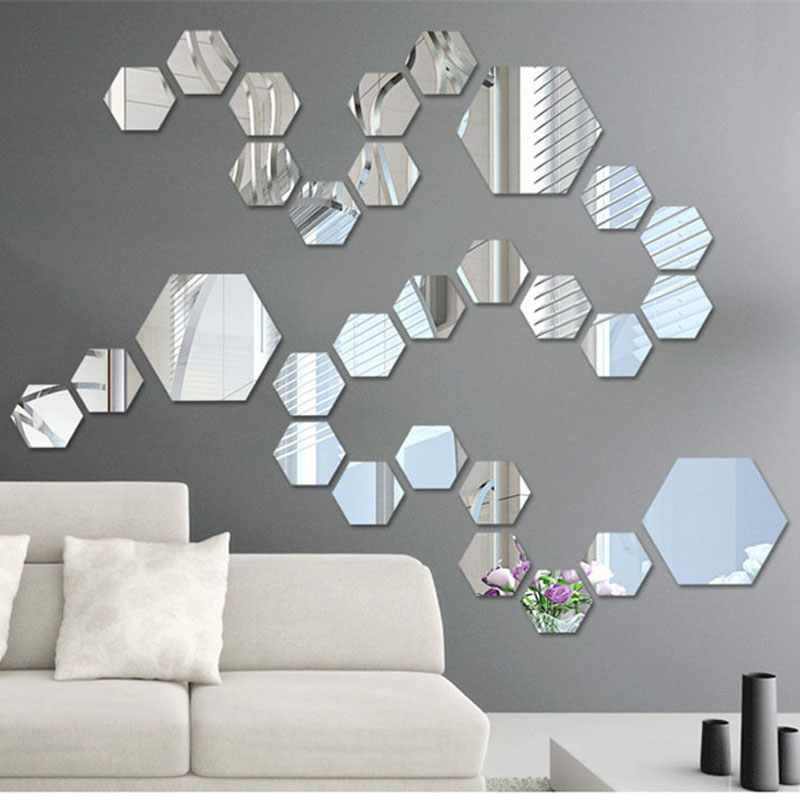 Buy 12 pieces pack hexagonal home decor wall stickers 3d diy acrylic mirror - Wall decor mirror home accents ...