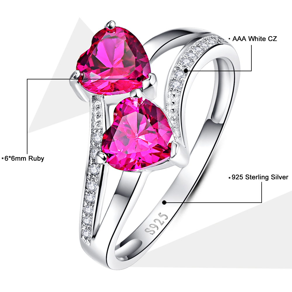 Hot Heart 2.75ct Laboratory Created Rose Red AAA CZ Engagement ...