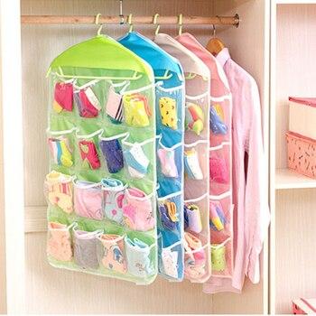 Gran oferta caja de almacenamiento 16 bolsillos claro hogar utensilio para colgar calcetines bolsa sujetador ropa interior estante de almacenamiento organizador