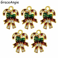 Jewelry Findings Pendants Christmas-Bell Candy-Cane Charms Cute 10pcs Stocking Gift DIY