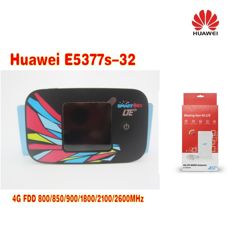 Huawei E5377s-32 CAT4 150Mbps 4G LTE FDD 3G UMTS WiFi Mobile Wireless Router +49dbi TS9 MIMO 4G Antenna lf ant4g01 4g lte ts9 plug 49dbi mimo antenna signal booster