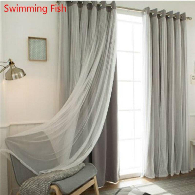 ᗗNuevo azul Rosa beige color del paño + voile cortinas para sala