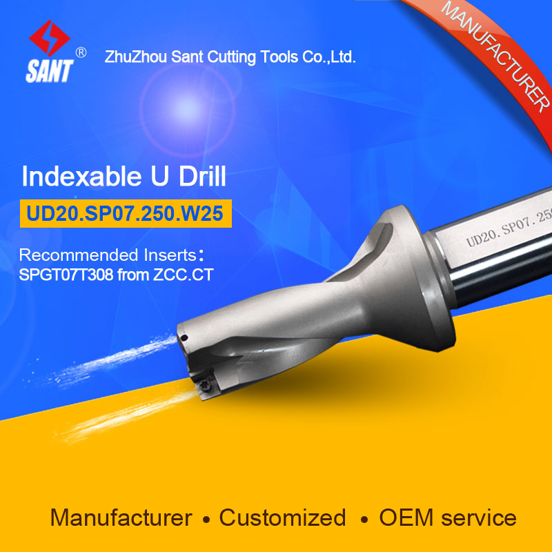 Zhuzhou Sant Drilling Tools U Drill UD20.SP07.250.W25 Applicable Inserts SPGT07T308 or SPMG07 double helix internal cooling holes 3 l d 17mm u drill ud30 sp06 170 w25 ztd03 with inserts zcc spgt06 or taegutec spmg06