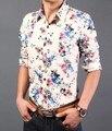 new autumn men fashion shirts high quality plus size 3XL floral print casual shirts men