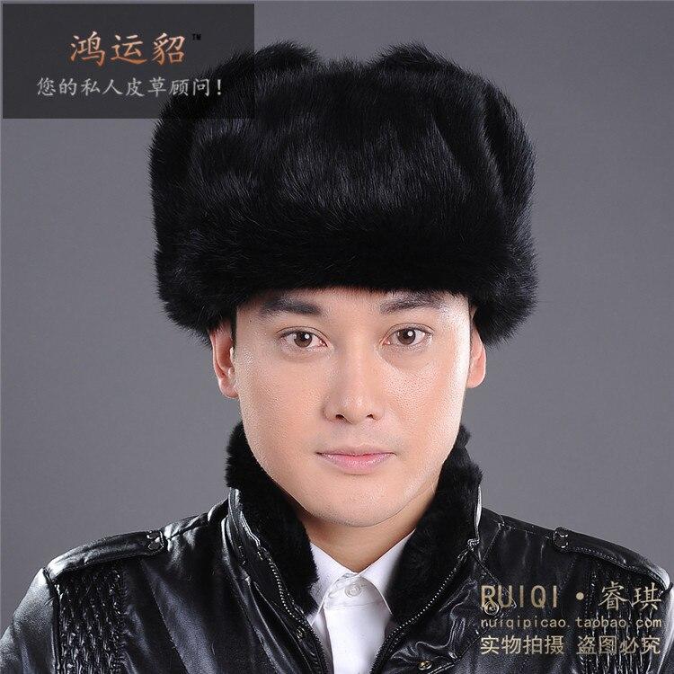 Moda invierno gruesa caliente masculino calidad superior real Rex conejo  casquillo protector del oído del sombrero personalidad Feng lei piel  sombrero para ... 97c59ce8a57