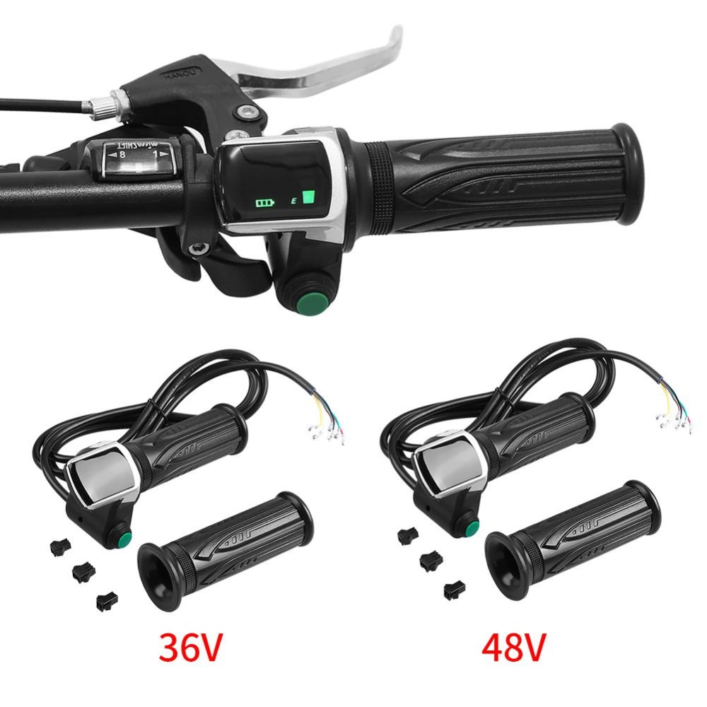 bicicletas scooter mango de agarre giratorio para coches el/éctricos 36//48 V pantalla LCD 1 par de manillar de pu/ño para acelerador impermeable VGEBY