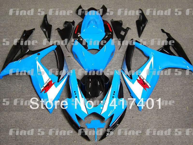 blue white black for GSX R600 R750 06-07 GSXR 600 750 GSXR600 GSXR750 GSX-R600 GSX-R750 K6 06 07 2006 2007 ABS fairing kit