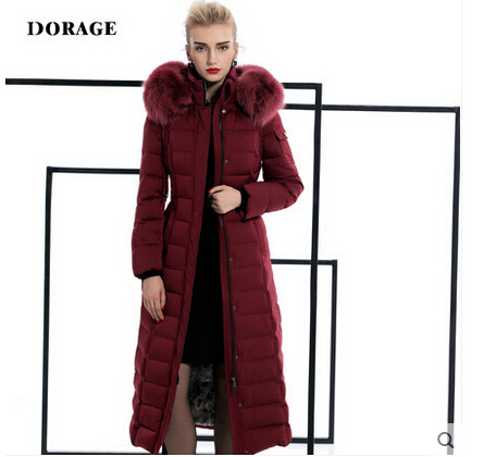 2015 new Hot winter Thick Warm Woman Down jacket Coat Parkas Outerwear Hooded fox Fur collar Luxury High-end long plus size 2XXL winter high end white duck down women jacket long real fox fur collar thickening hooded solid color warm outerwear coat mz1921