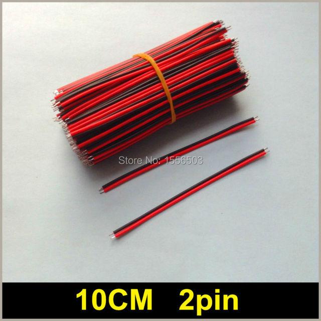 1000 Teile/los Rot Schwarz 2pin 10 CM Elektronische Kabel 22AWG Led ...